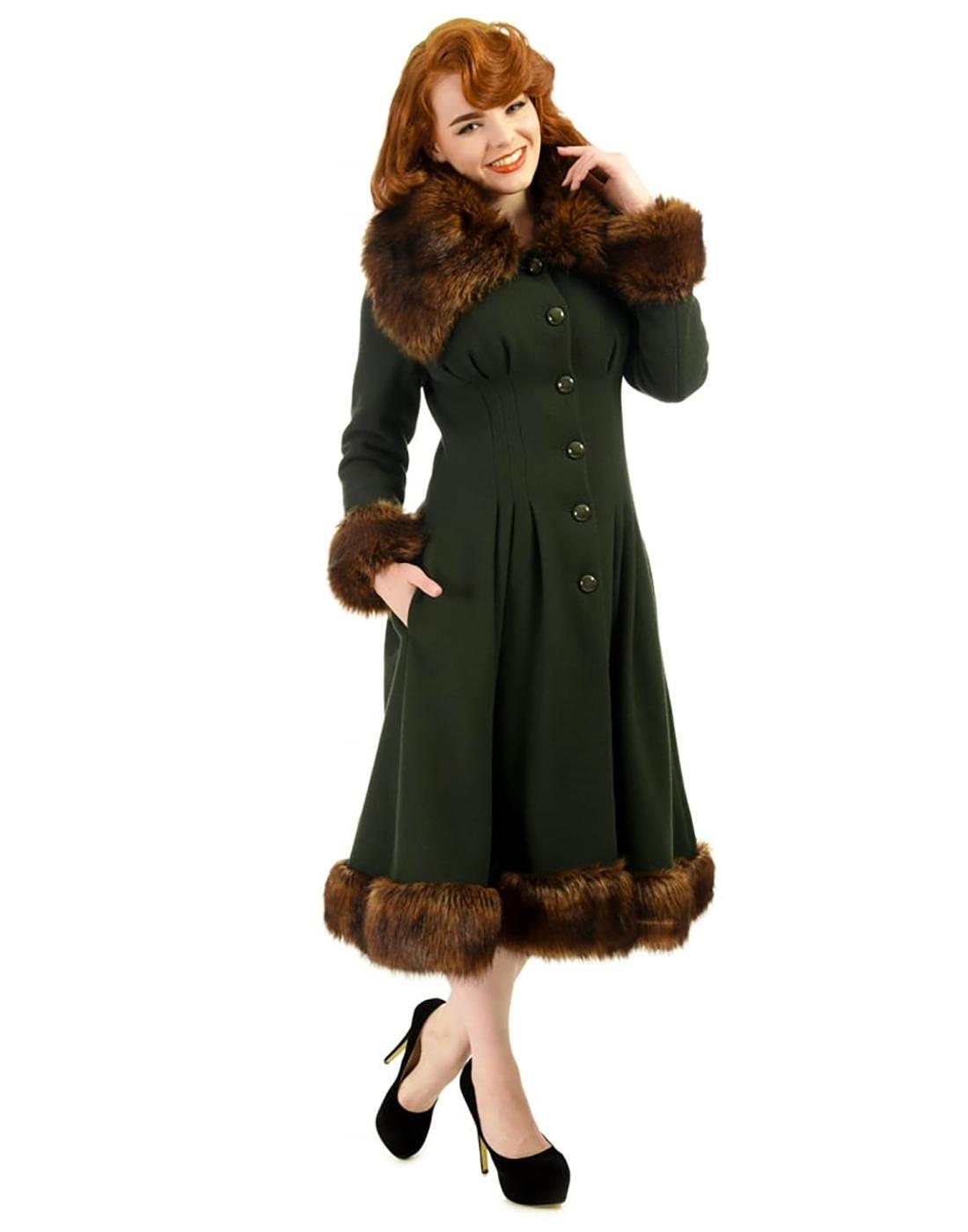 Pearl COLLECTIF Vintage 50s Faux Fur Coat in Green
