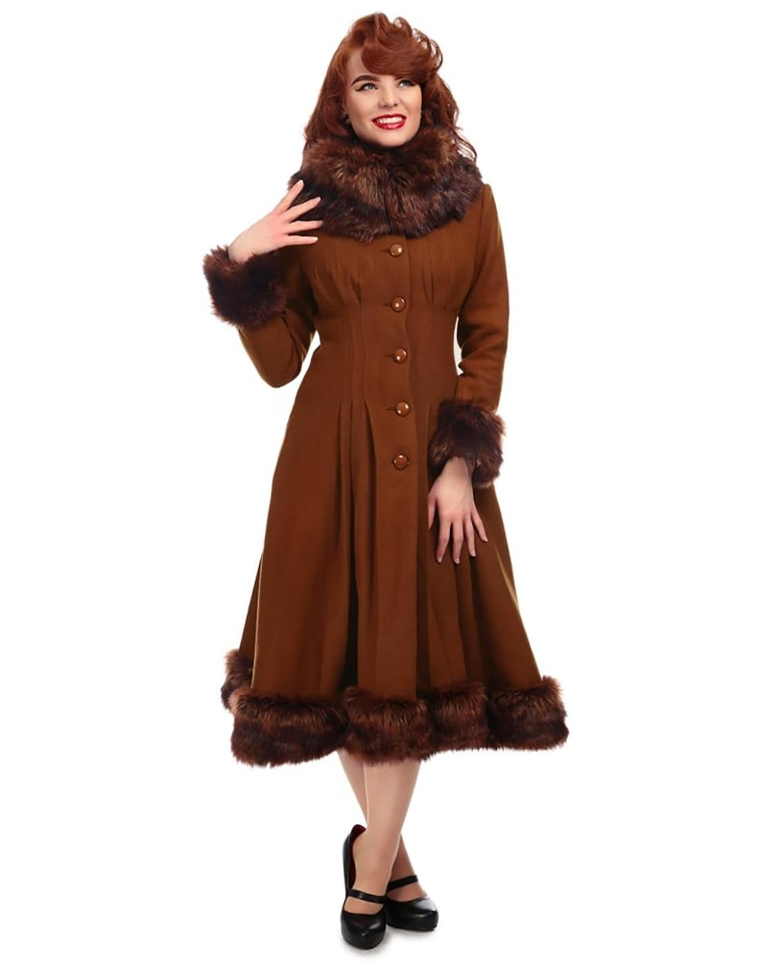 Pearl COLLECTIF Vintage 1950s Faux Fur Coat in Tan