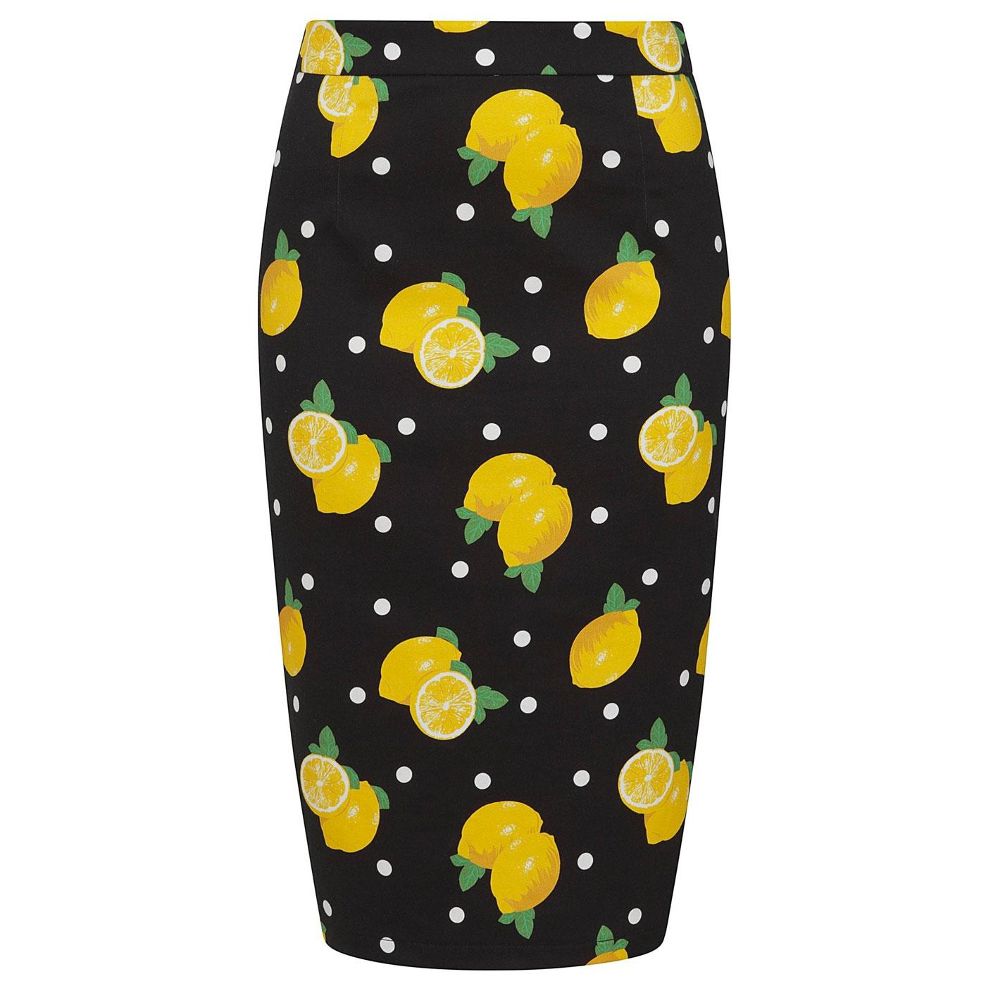Polly COLLECTIF Retro 50s Lemon Print Pencil Skirt