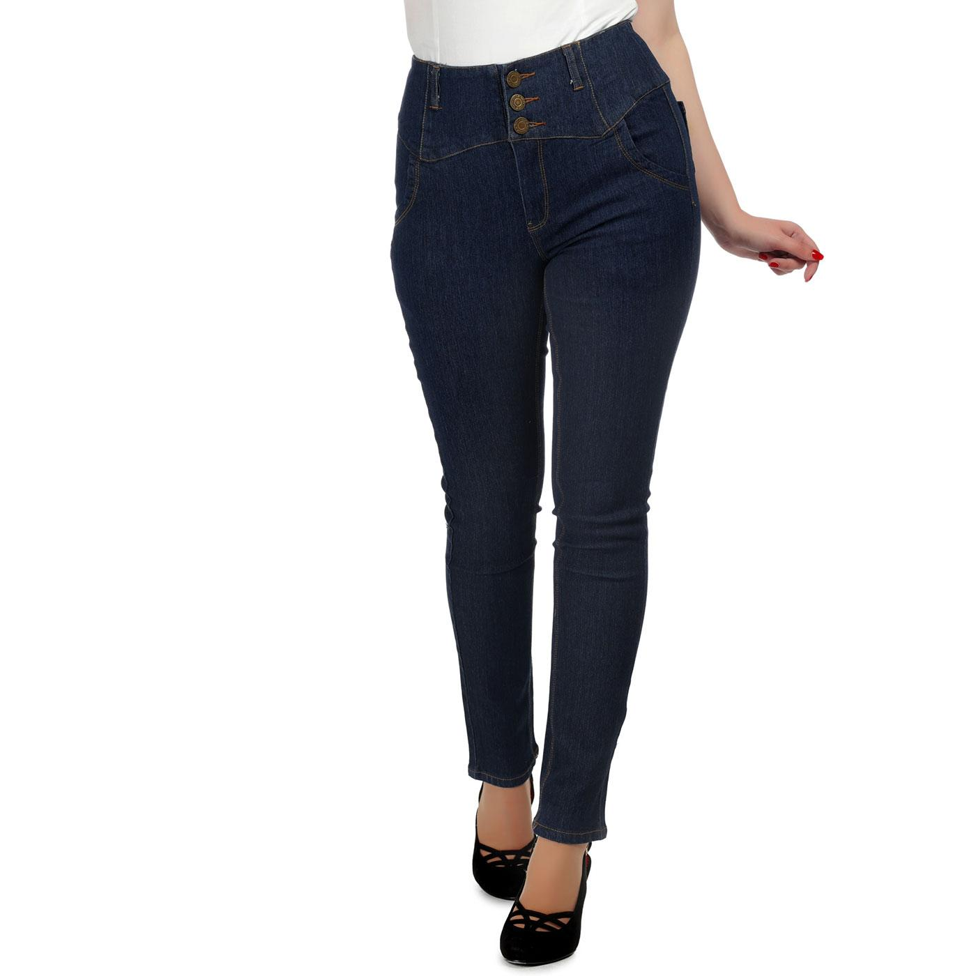 Rebel Kate COLLECTIF Retro Skinny Jeans in Navy