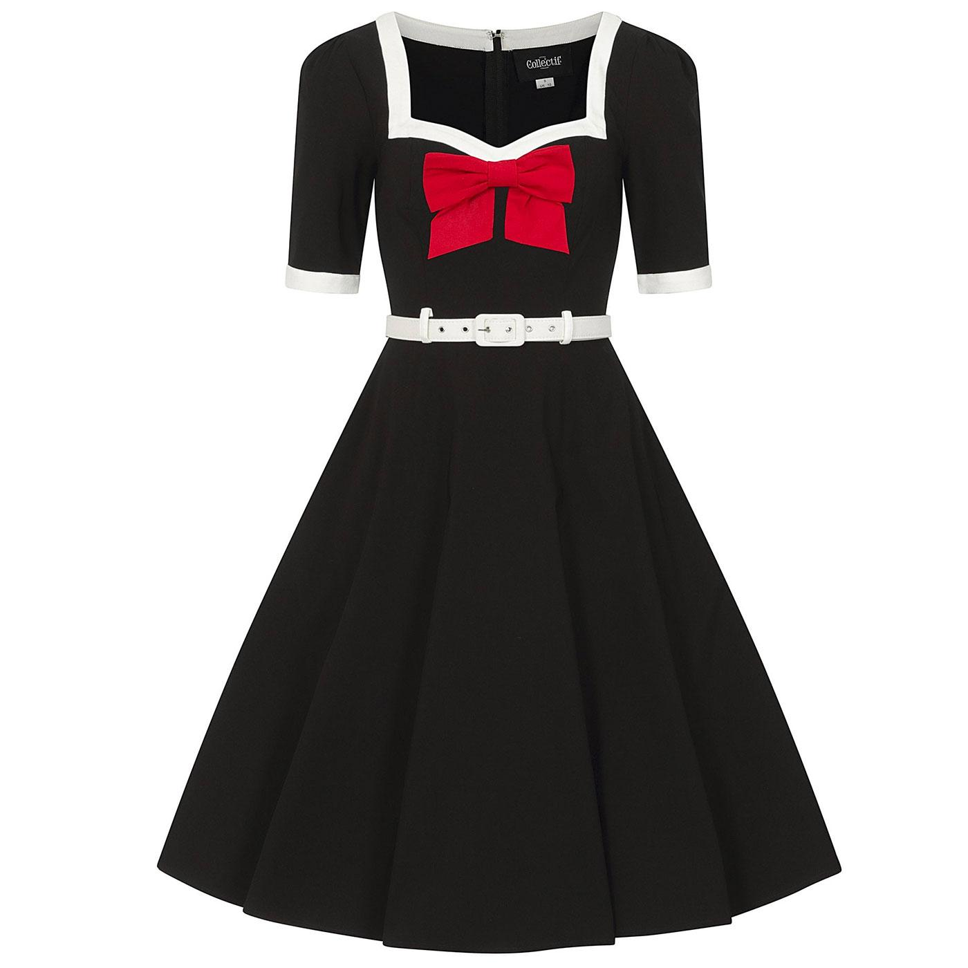 Sadie COLLECTIF Retro 50s Swing Dress in Black