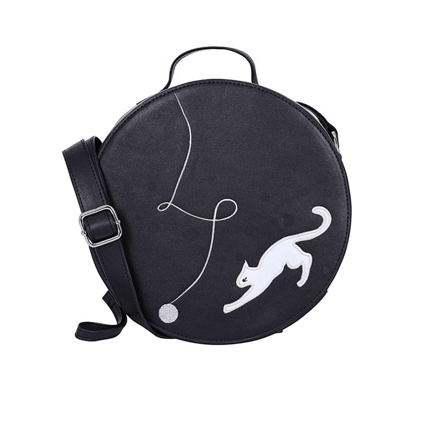 Sally COLLECTIF Kitty Cat Round Crossbody Bag Bl