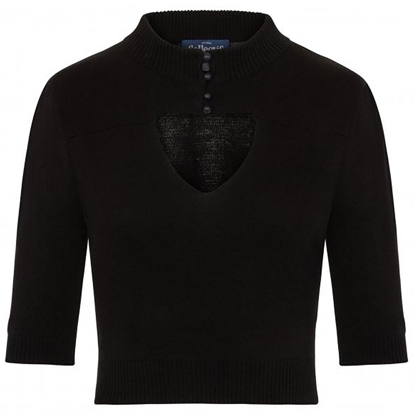 Shirley COLLECTIF Cut Out Heart Knitted Top Black