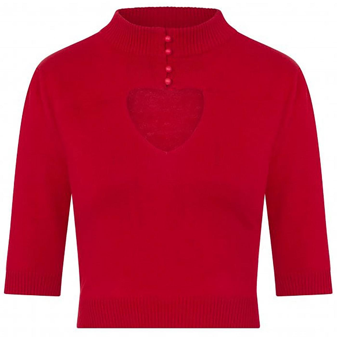 Shirley COLLECTIF Cut Out Heart Knitted Top in Red
