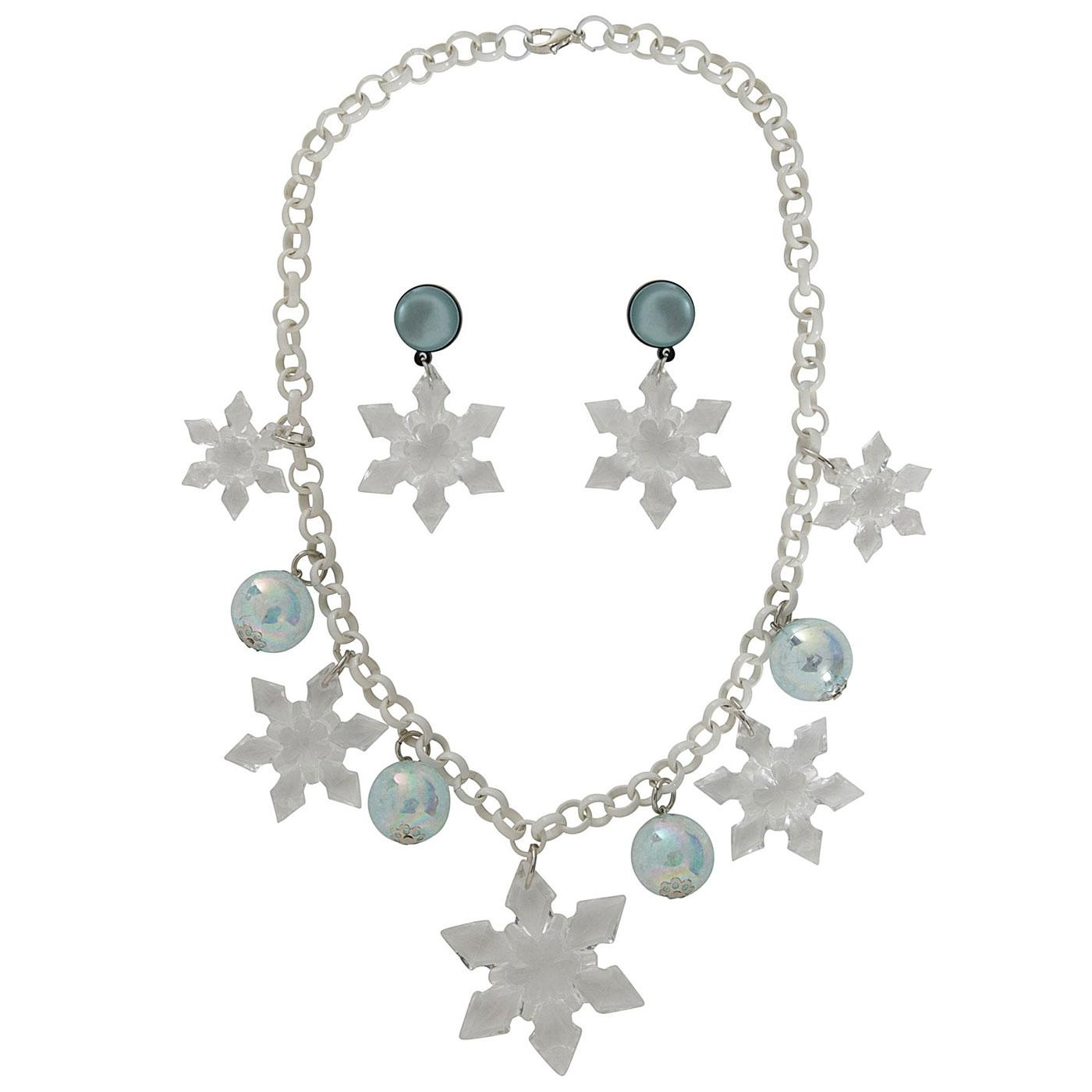 +Aster COLLECTIF Snowflake Necklace & Earrings