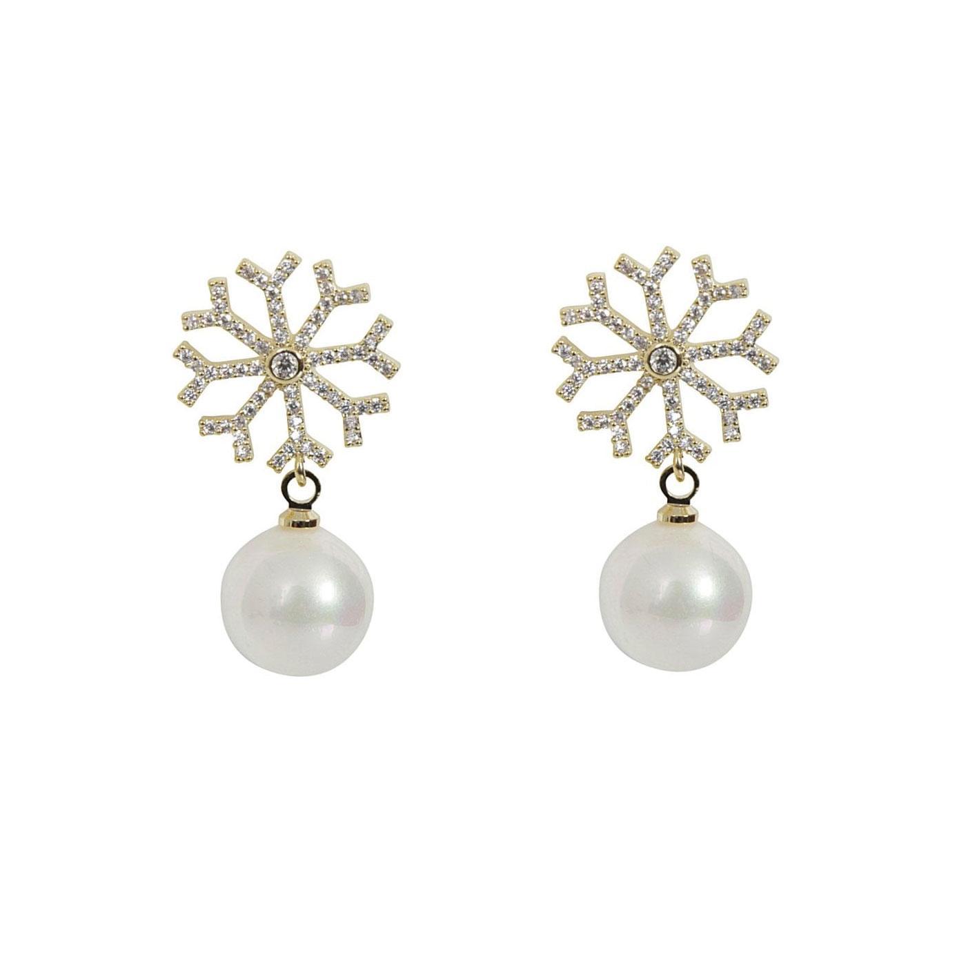 +COLLECTIF Retro 50s Snowflake Pearl Stud Earrings