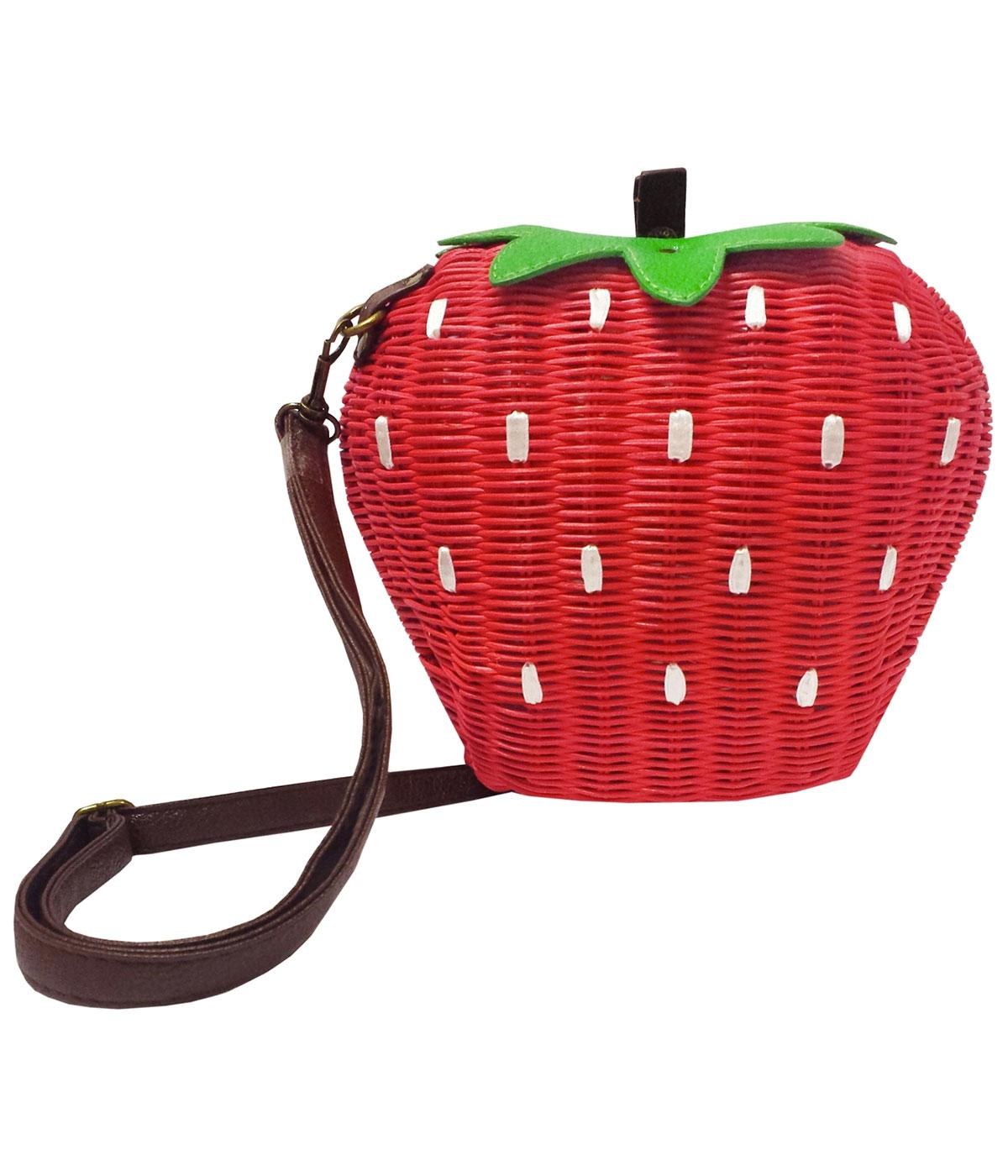COLLECTIF Retro Vintage 50s Strawberry Bamboo Bag
