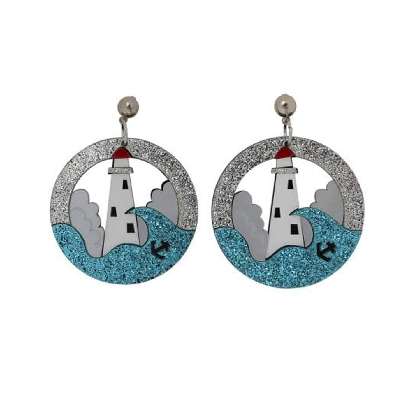 + Summer Lighthouse COLLECTIF Glitter Earrings