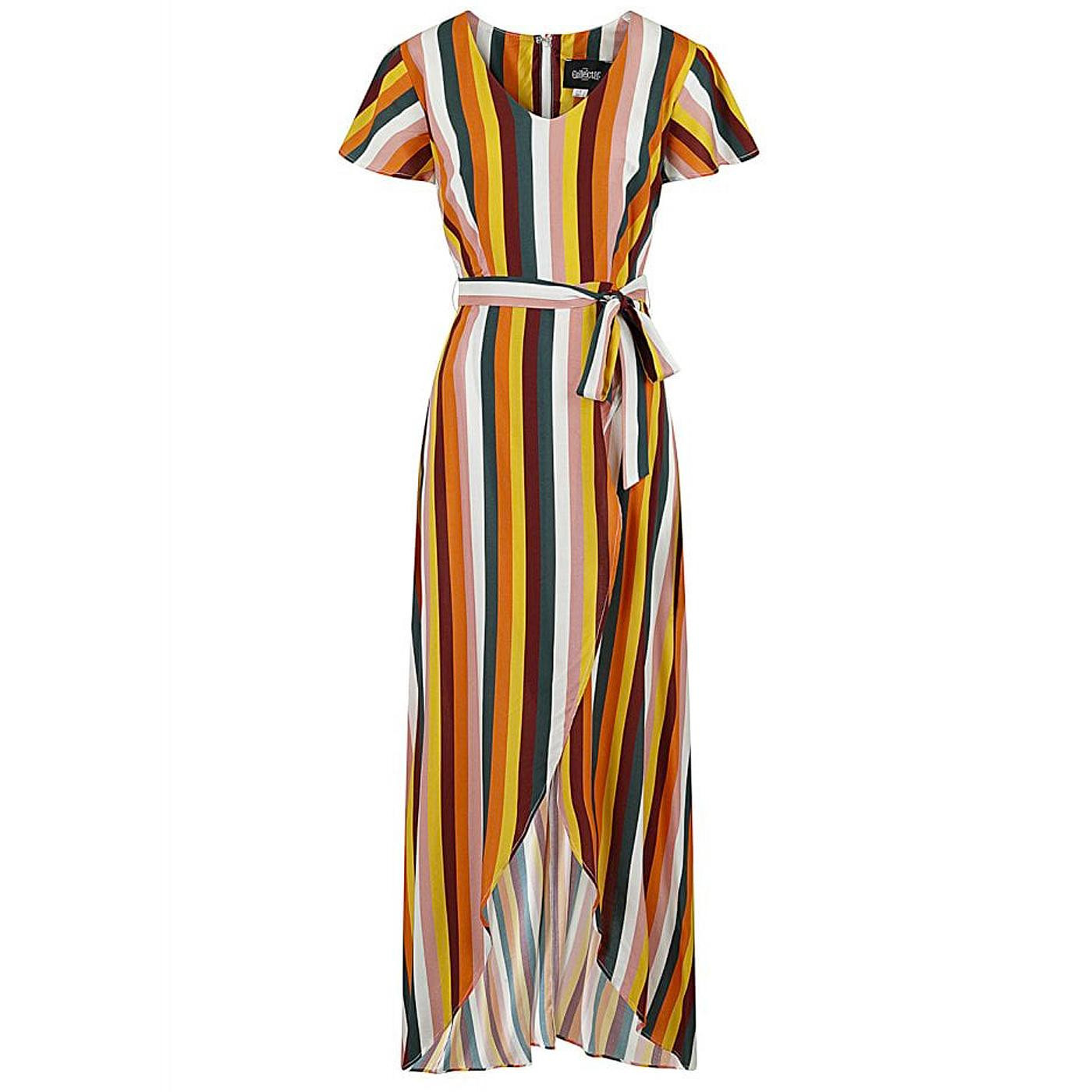 Sunny COLLECTIF Tropical Stripe Retro Maxi Dress