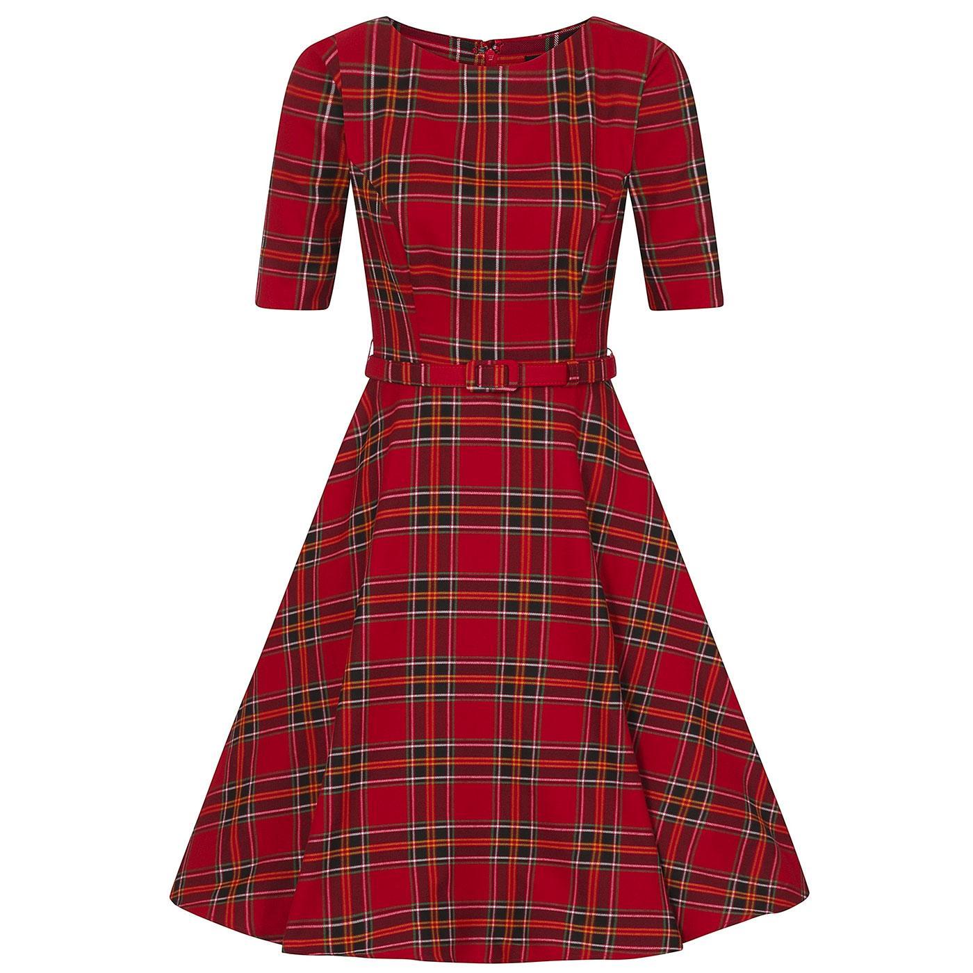 Suzanne COLLECTIF Berry Check Retro Swing Dress