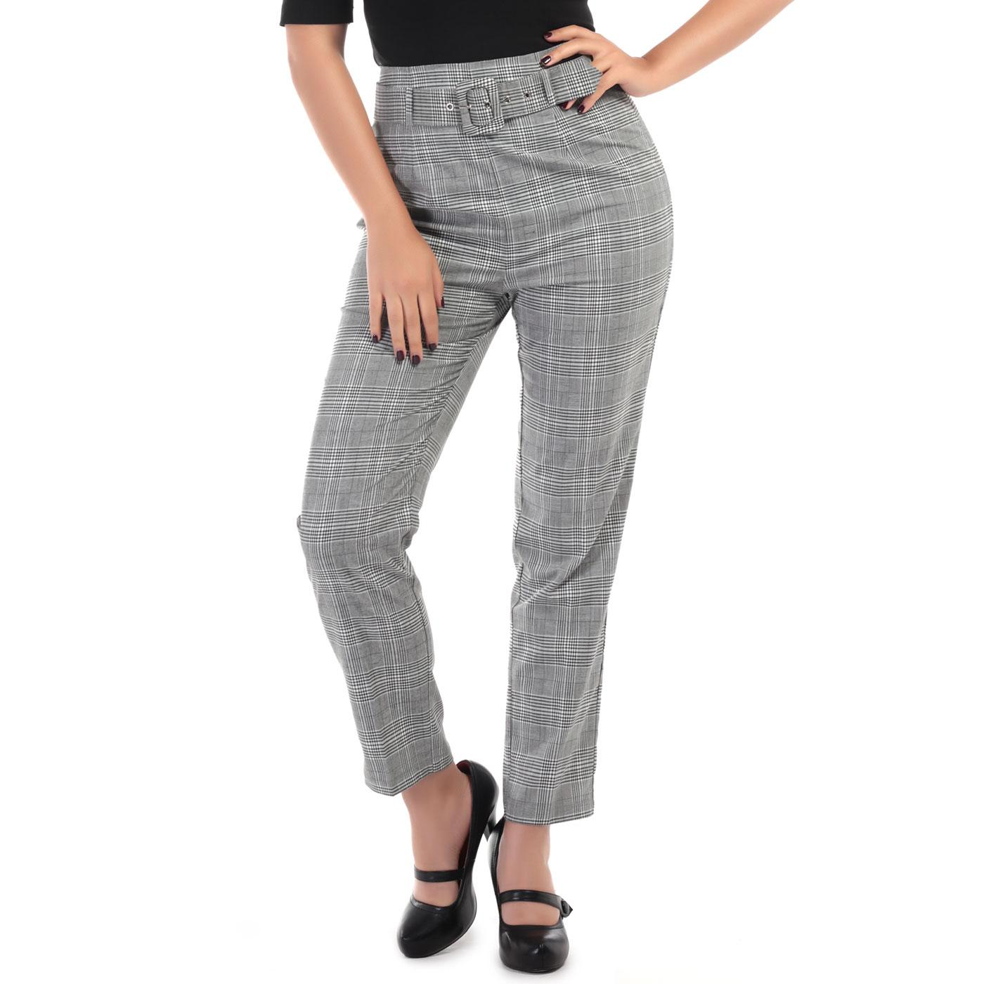 Thea COLLECTIF Womens Mod Prince of Wales Trousers