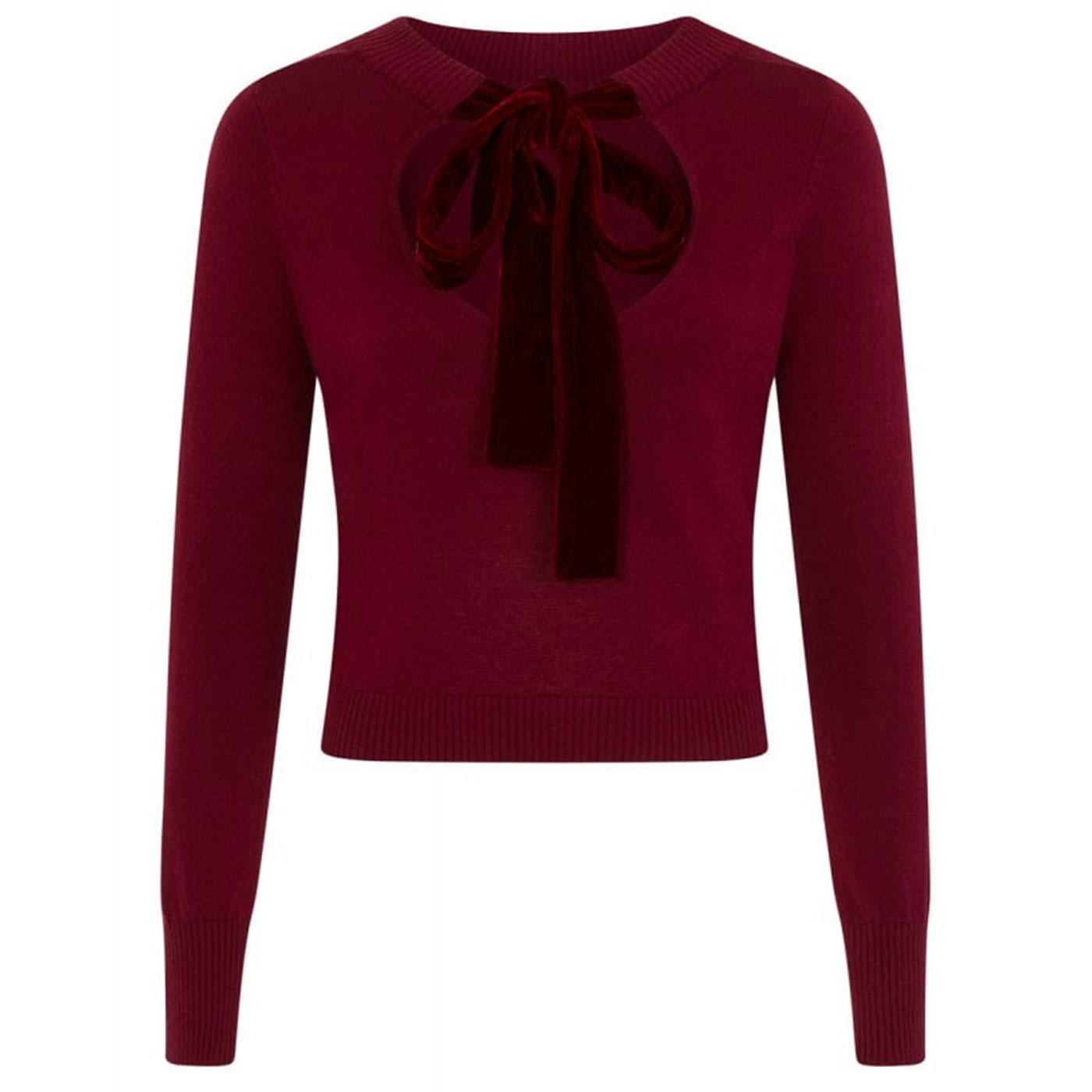 Tracy COLLECTIF Keyhole Vintage 50s Jumper in wine