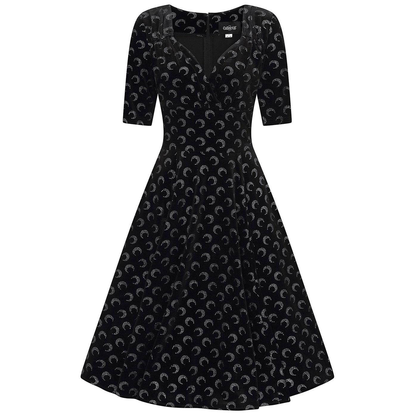 Trixie COLLECTIF Glitter Moon Velvet Swing Dress