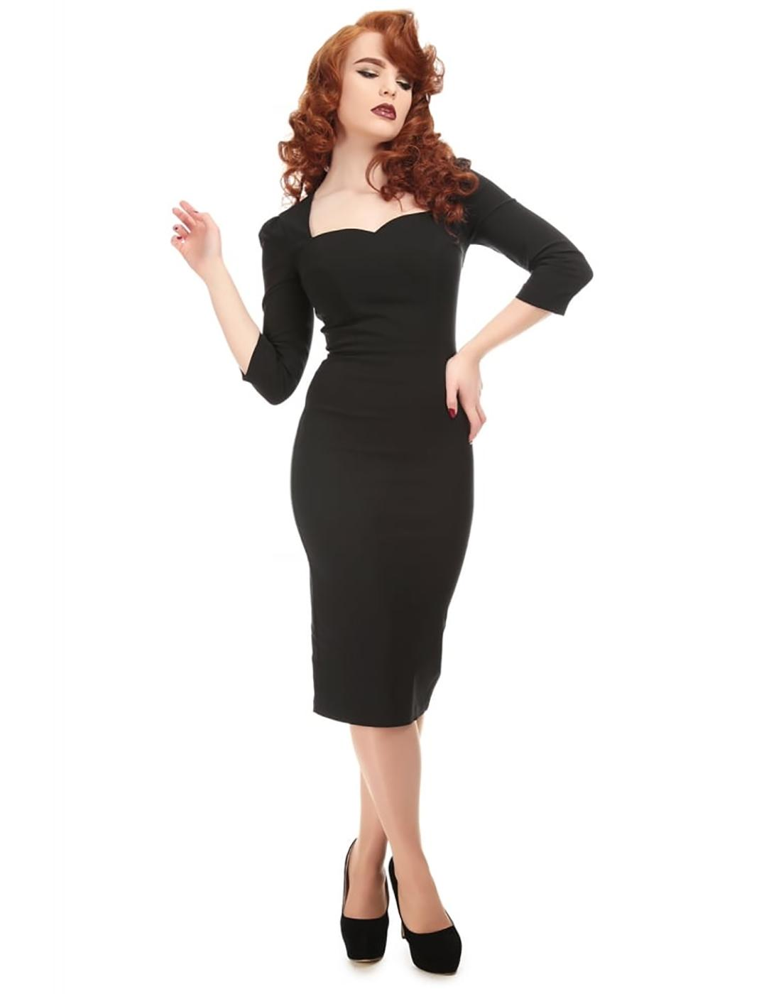 collectif vanessa vintage retro 50s pencil dress in black. Black Bedroom Furniture Sets. Home Design Ideas