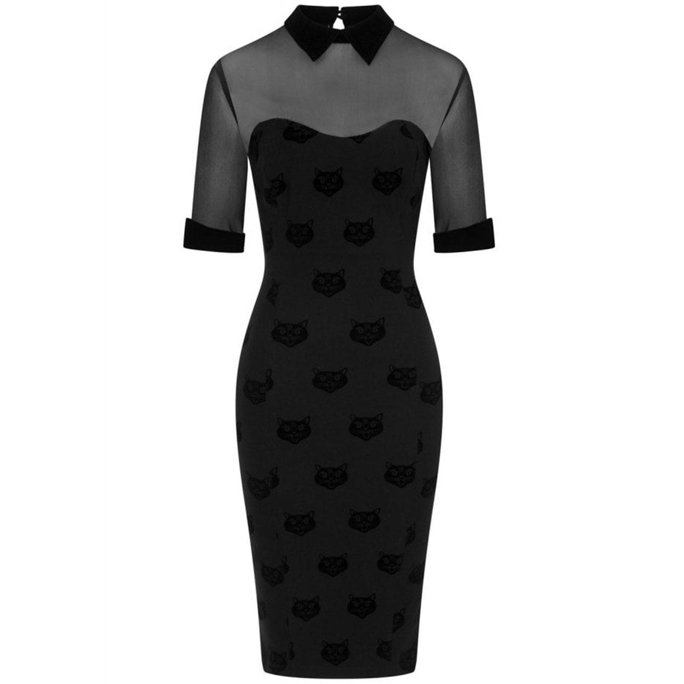 Wednesday COLLECTIF Velvet Cat Pencil Dress Black