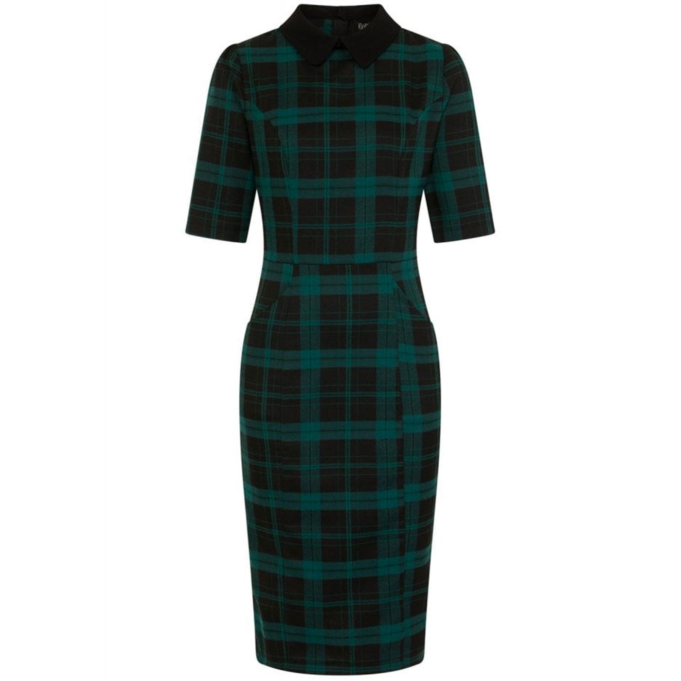 Winona COLLECTIF Tartan 1950s Pencil Dress Green