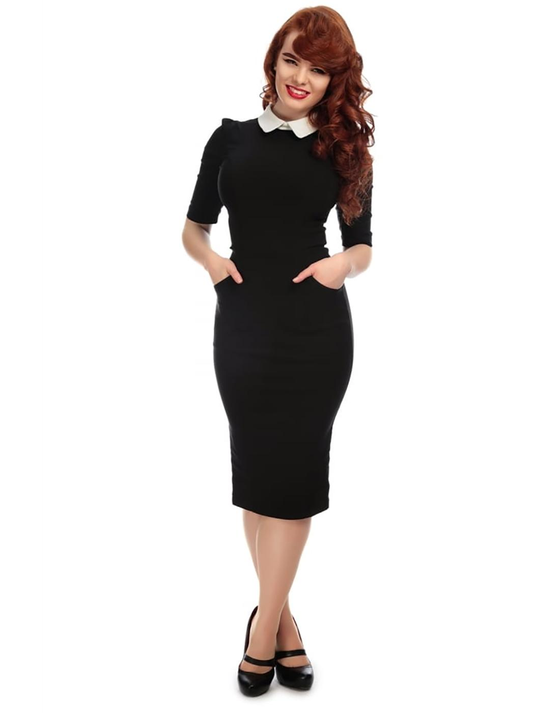 Winona COLLECTIF Retro Mod Pencil Dress in Black
