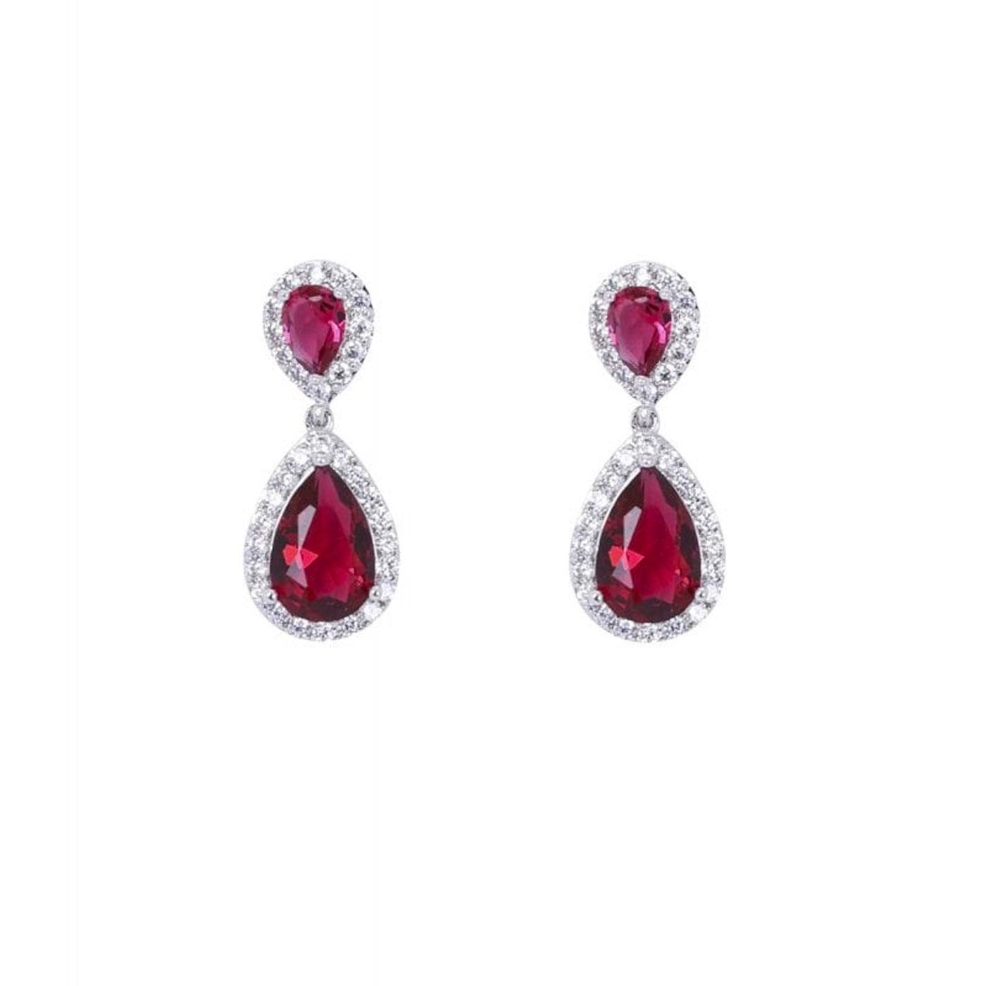 + Yvonne COLLECTIF Gem Drop Earrings In Red