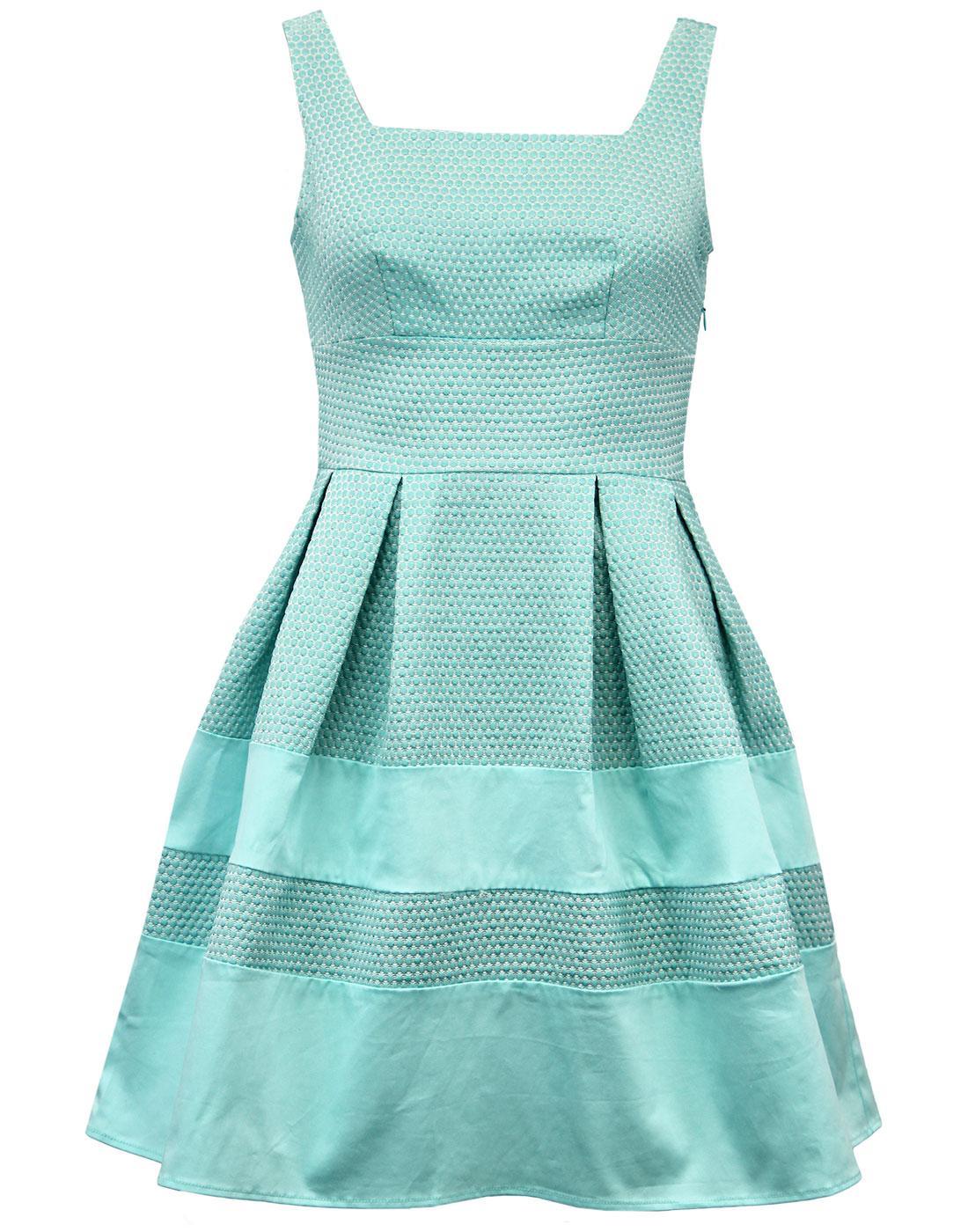 DARLING Nancey Retro 60s Textured Vintage Polka Dot Prom Dress