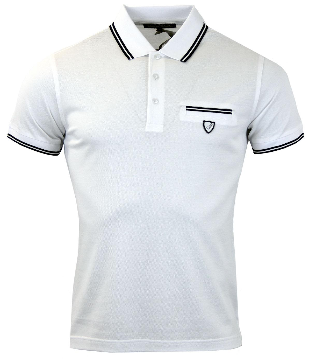 Delmar DAVID WATTS Mod Tailored Tipped Pocket Polo