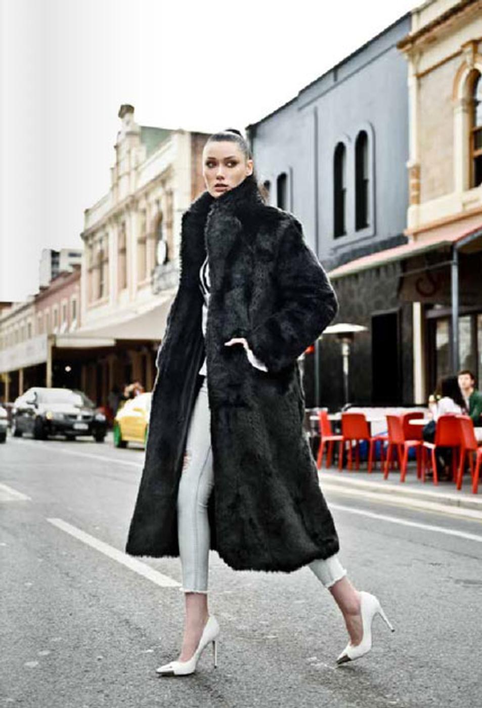 Fake designer fur coat