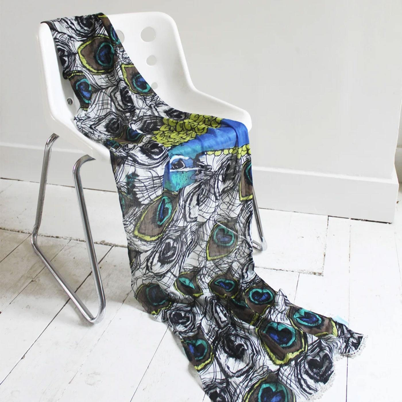 DISASTER DESIGNS Into The Wild Peacock Print Scarf