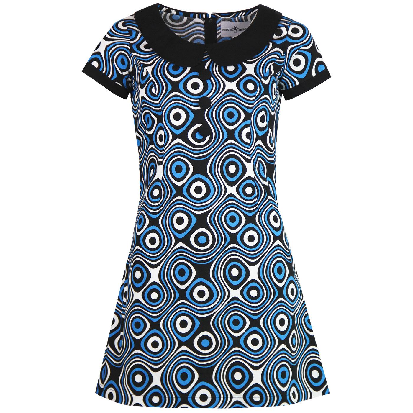 Dollierocker Op Art MADCAP ENGLAND Mod Dress BLUE