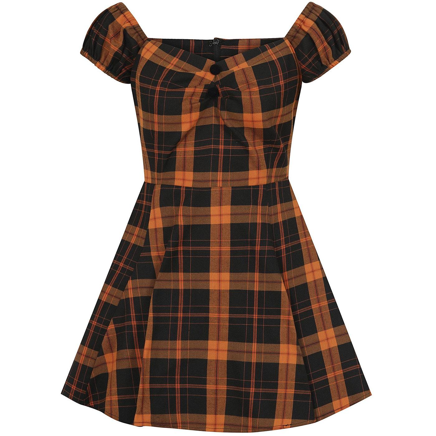 Dolores Mini COLLECTIF 1960s Pumpkin Check Dress