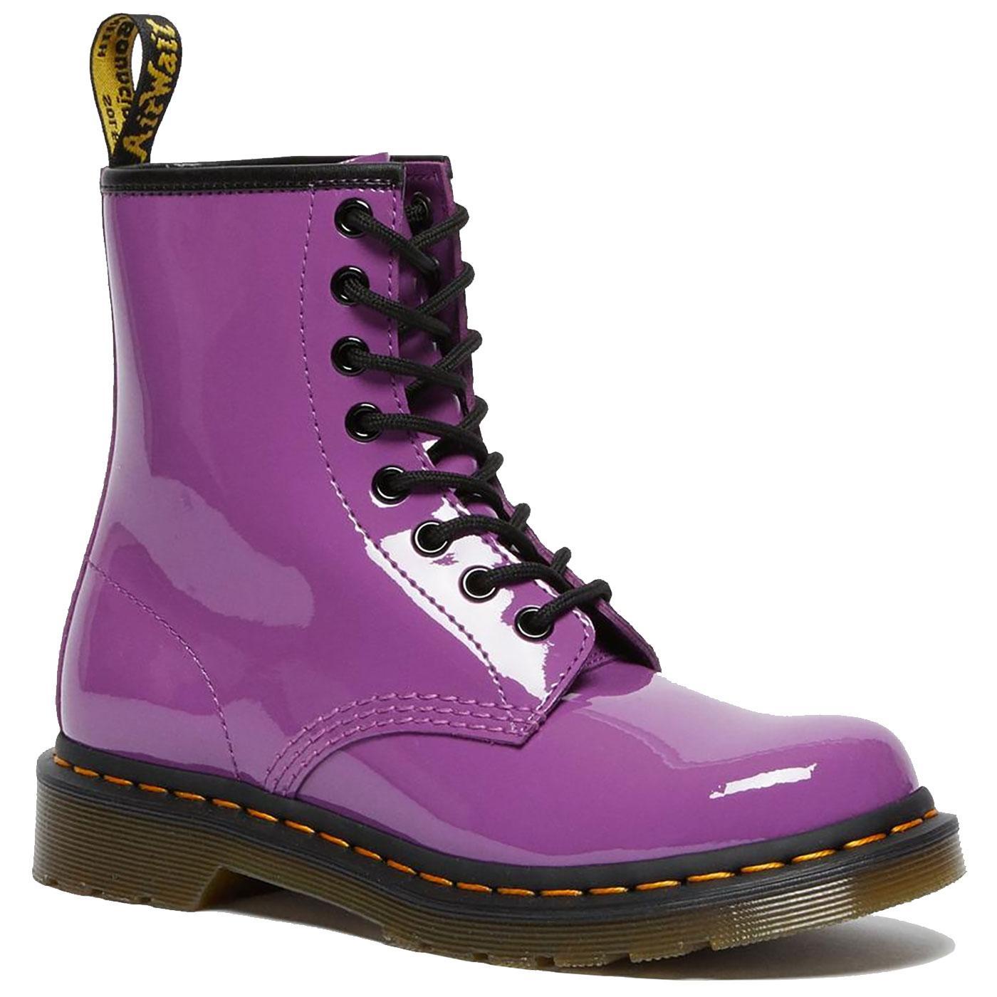 DR MARTENS 1460 Womens Purple Patent Lamper Boots