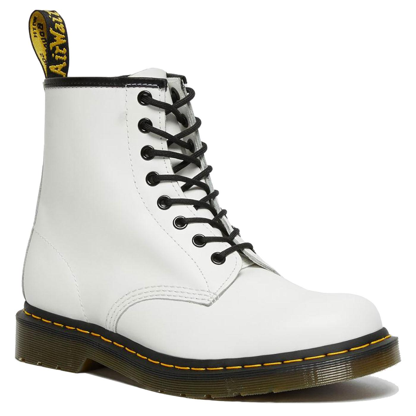 1460 DR MARTENS Womens Smooth White Leather Boots