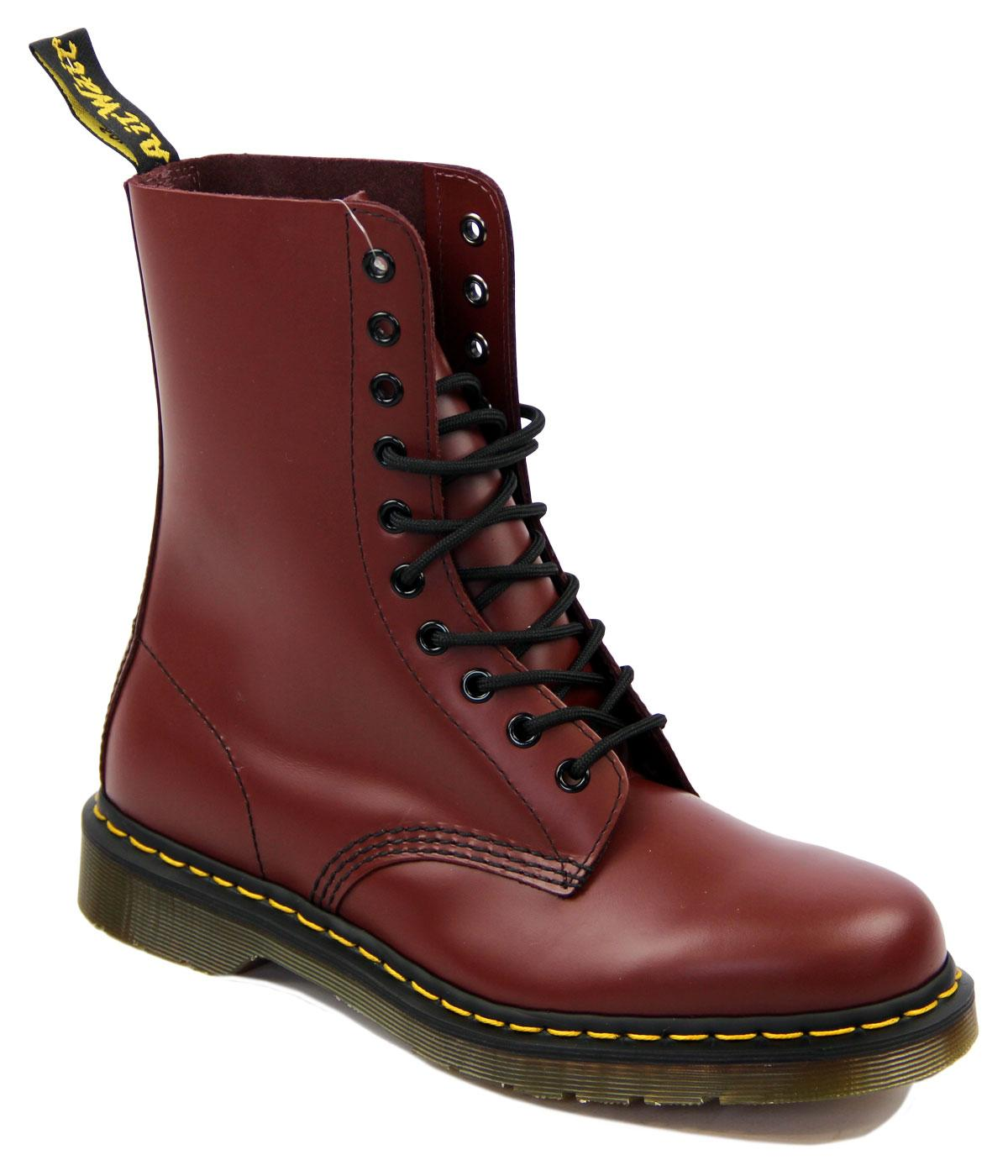 1490 DR MARTENS Retro Cherry Red 10 Eyelet Boots