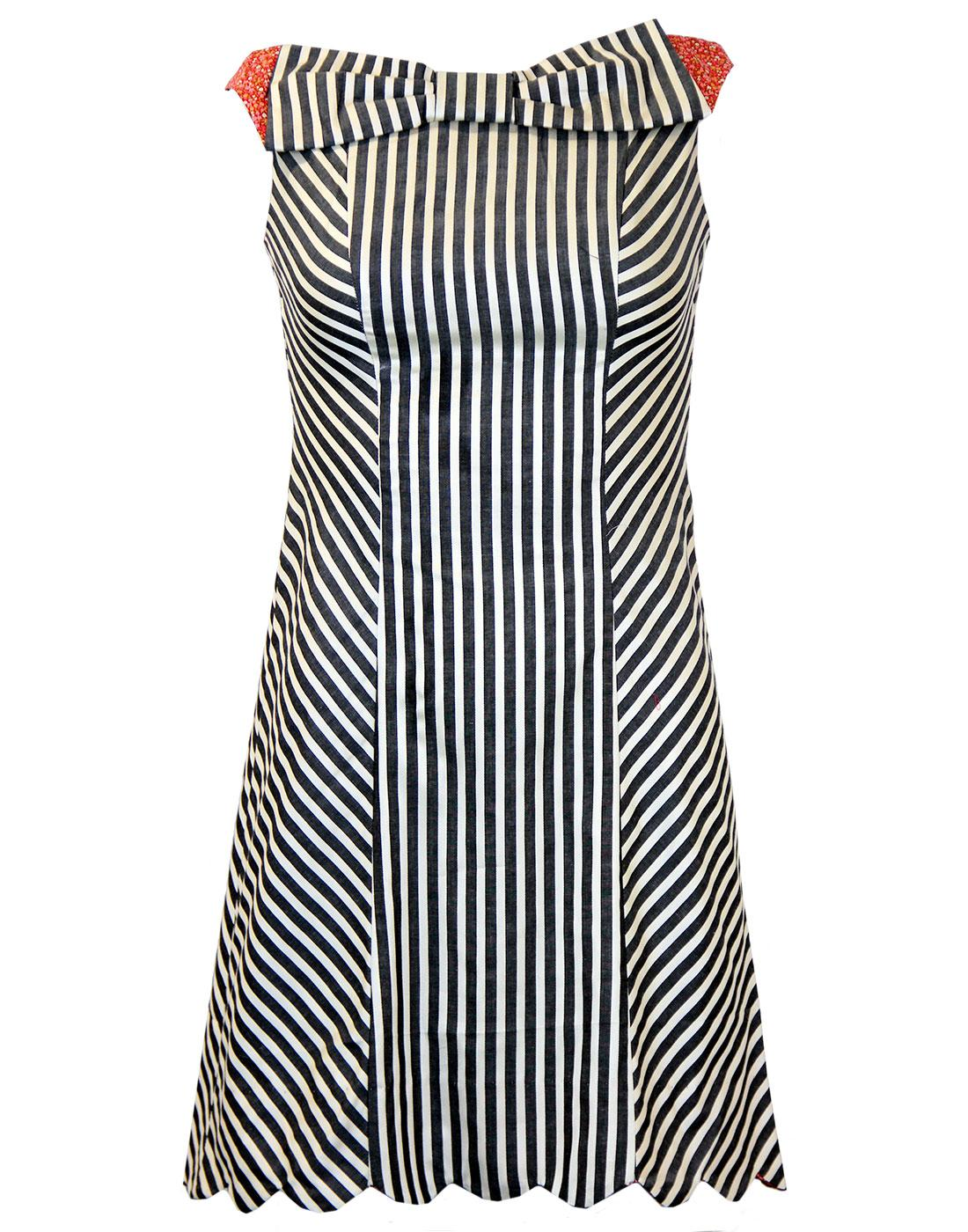DAINTY JUNE Retro Vintage Striped Bow Dress