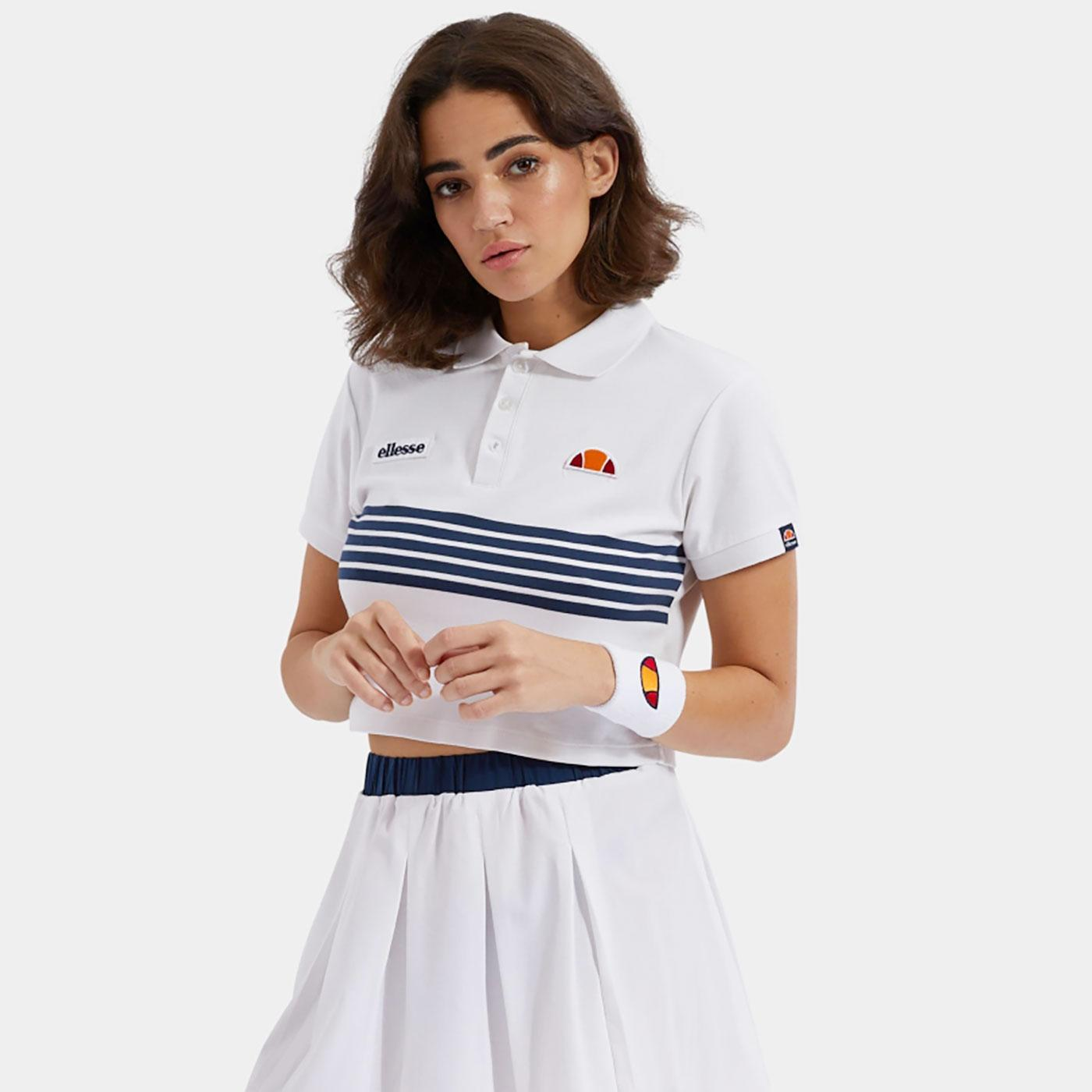 Annamaria ELLESSE Retro 80s Crop Polo Top (White)
