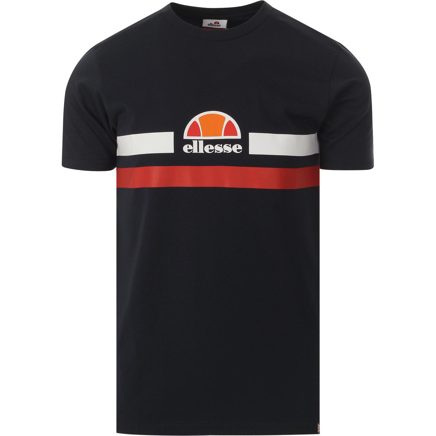 Aprel ELLESSE Retro 70s Chest Stripe Logo Tee NAVY