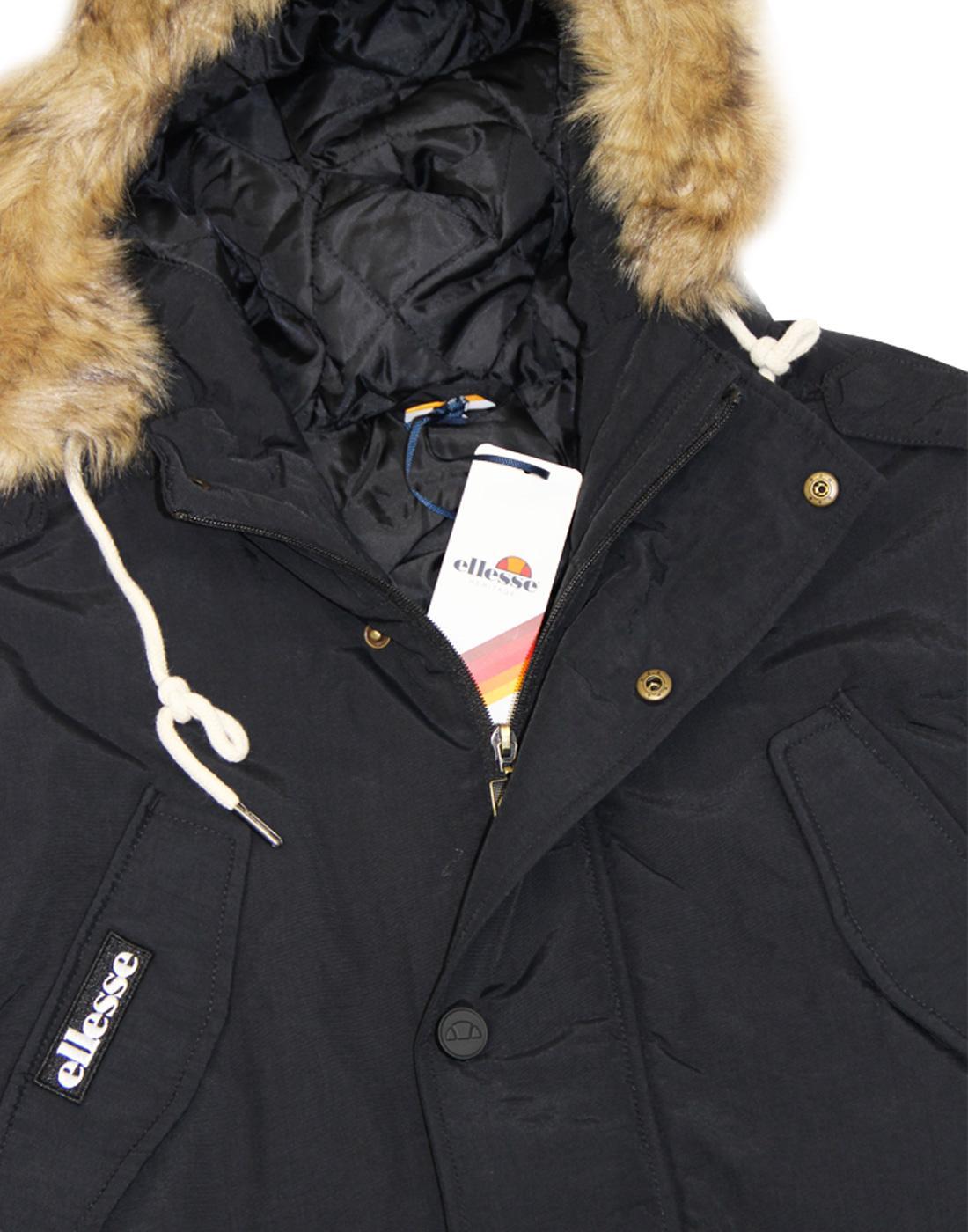 padded winter coat Ellesse Blizzard Parka in Black faux fur lined hood