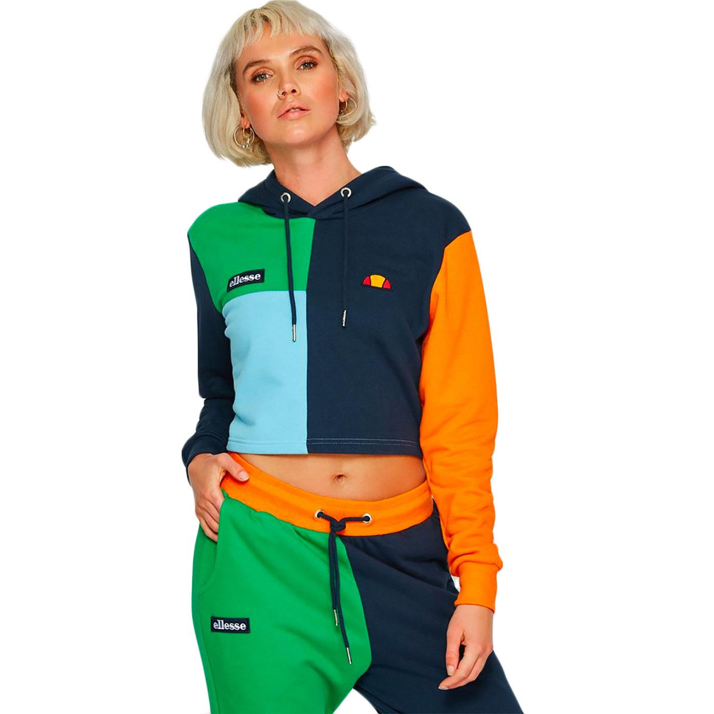 Canel ELLESSE Retro 1980s Colour Block Crop Hoodie