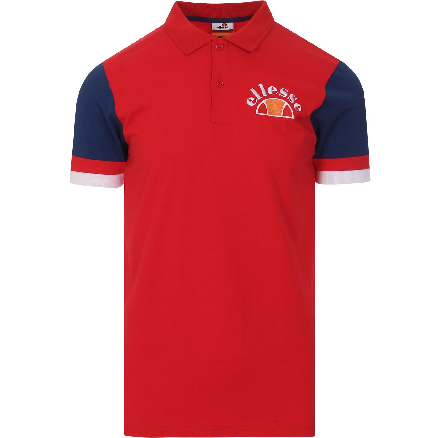 Costa ELLESSE Retro 80s Contrast Sleeve Polo (Red)