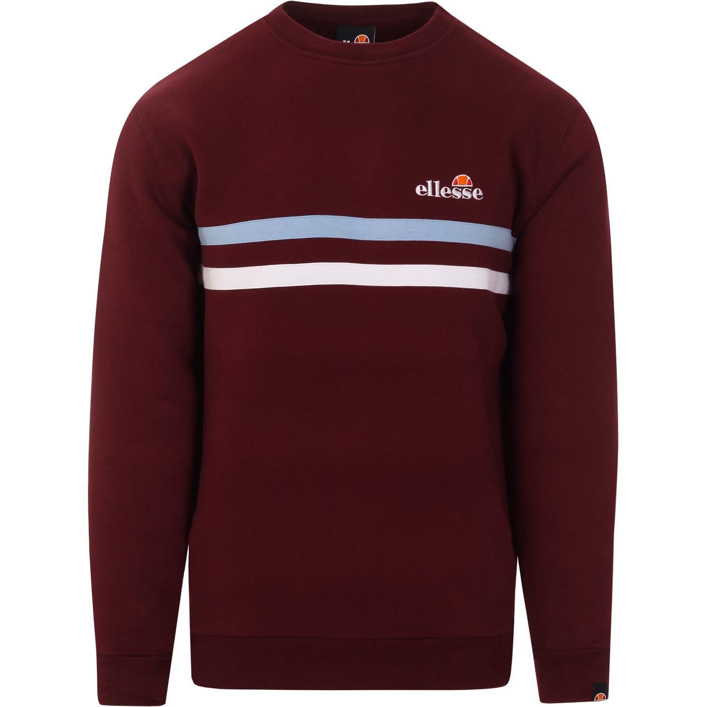Erminion ELLESSE Retro Stripe Sweatshirt BURGUNDY