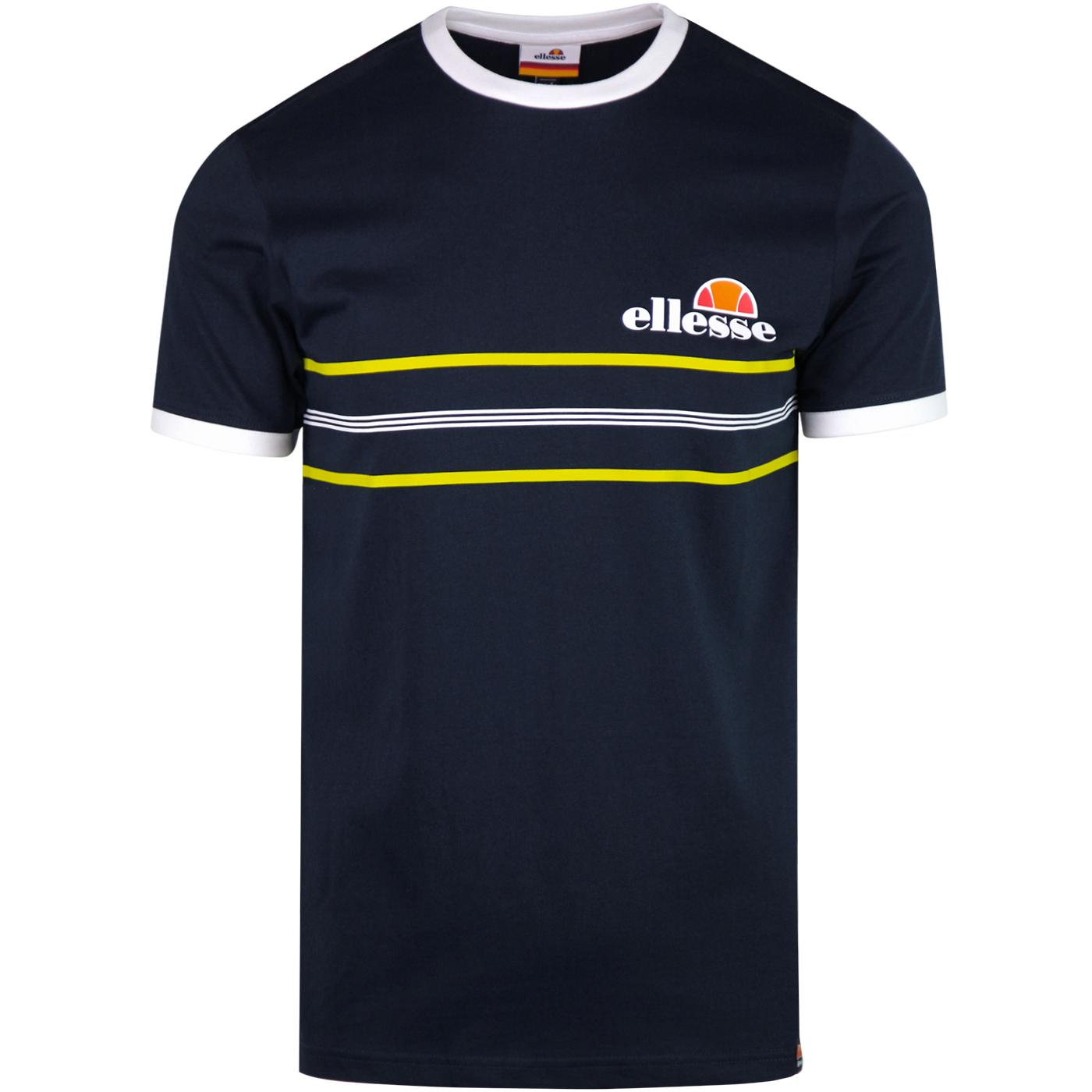 Gentario ELLESSE Retro Striped Contrast Tee (Navy)