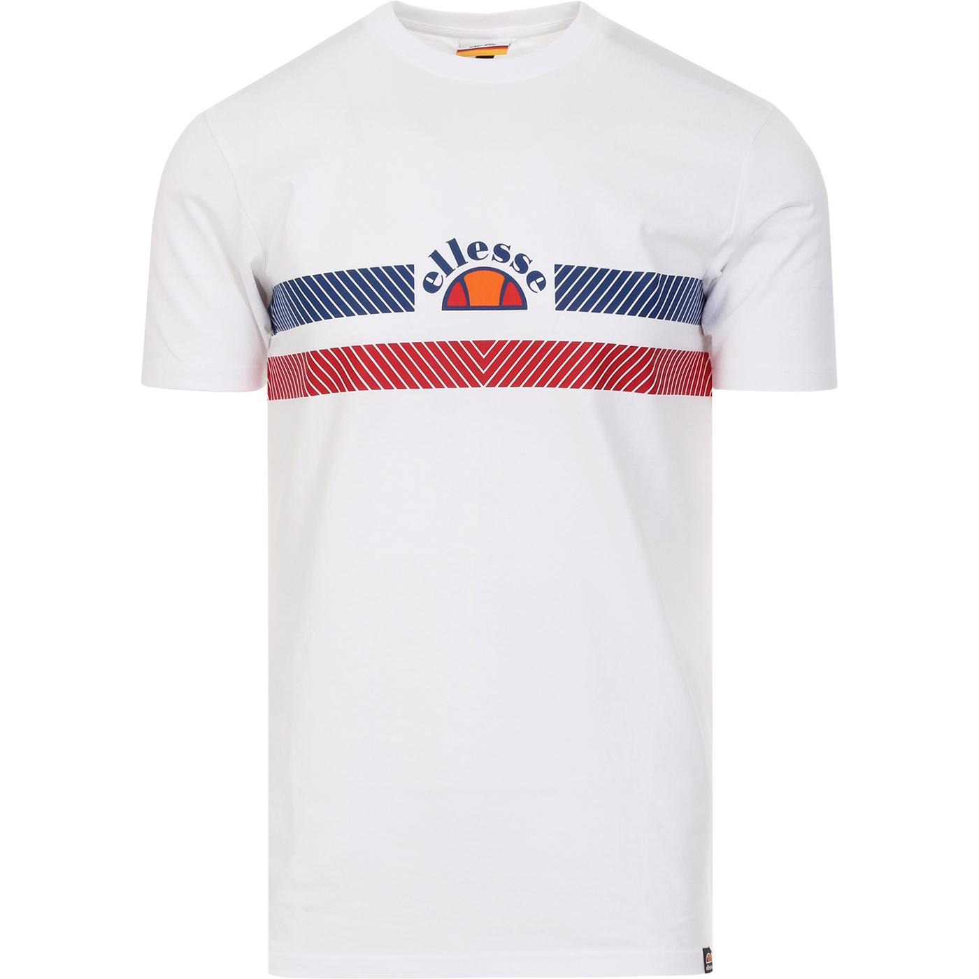 Lori ELLESSE Retro 80s Chest Stripe Logo Tee WHITE