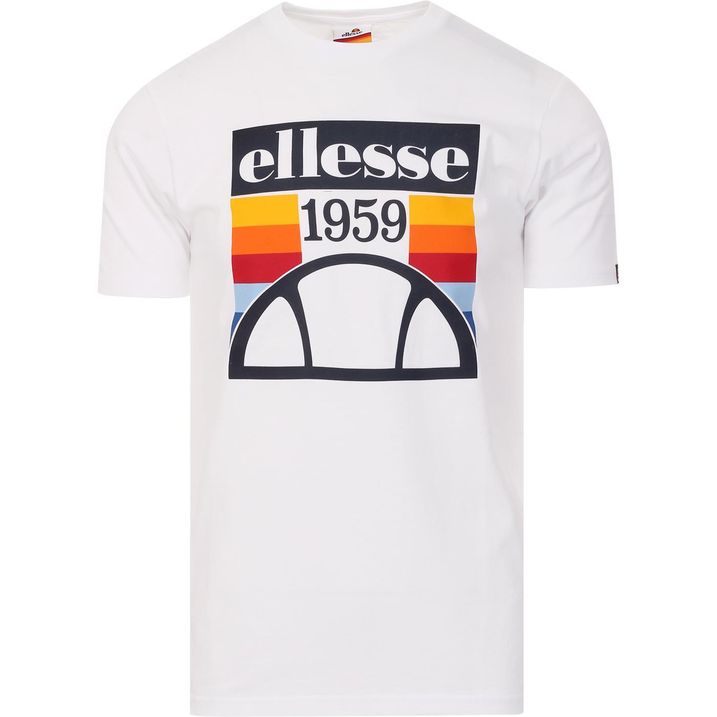Pirozzi ELLESSE Retro Stripe Print Logo Tee WHITE