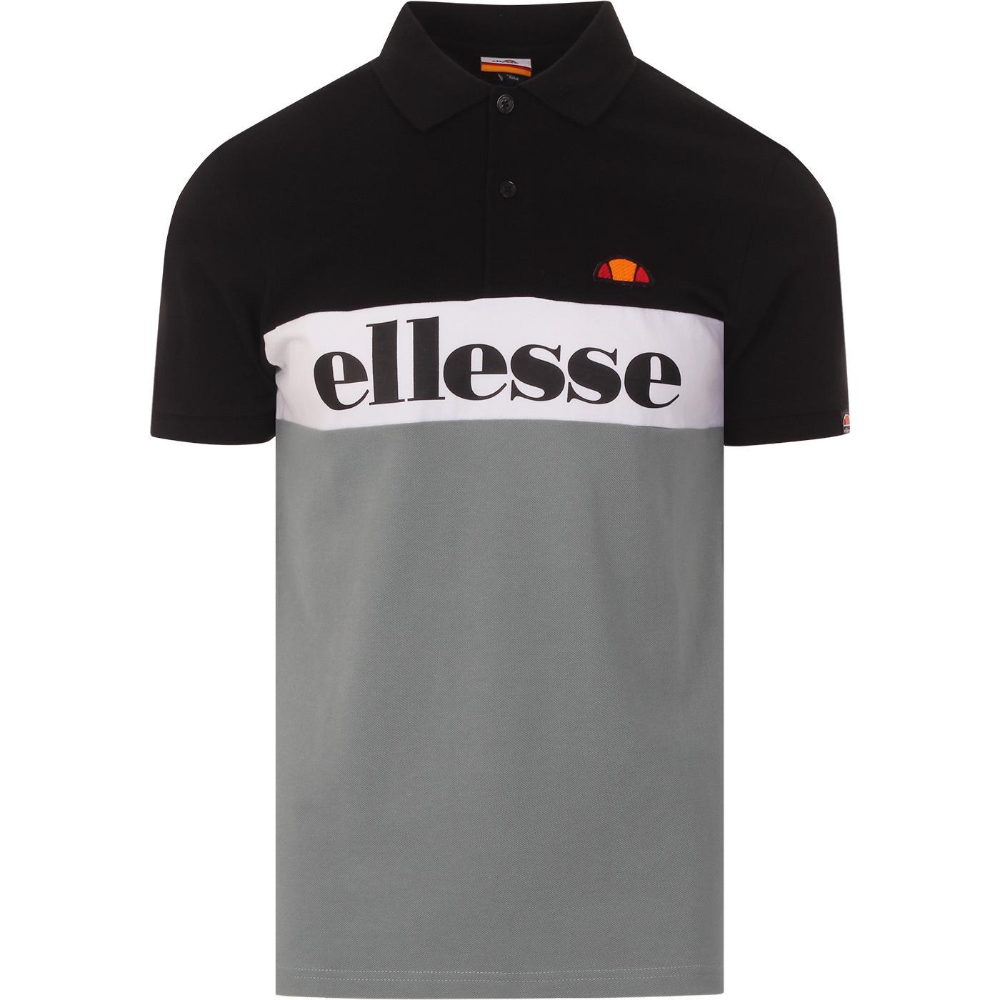 Rio ELLESSE Retro 90s Colour Block Polo Top BLACK