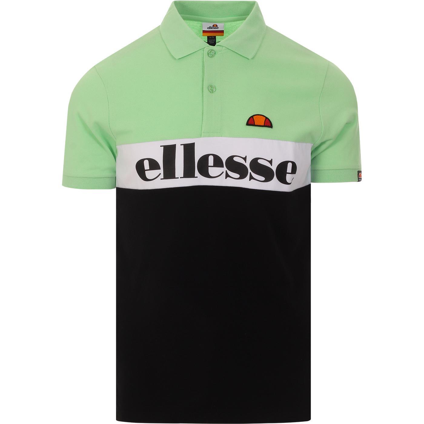 Rio ELLESSE Retro 90s Colour Block Polo Top GREEN