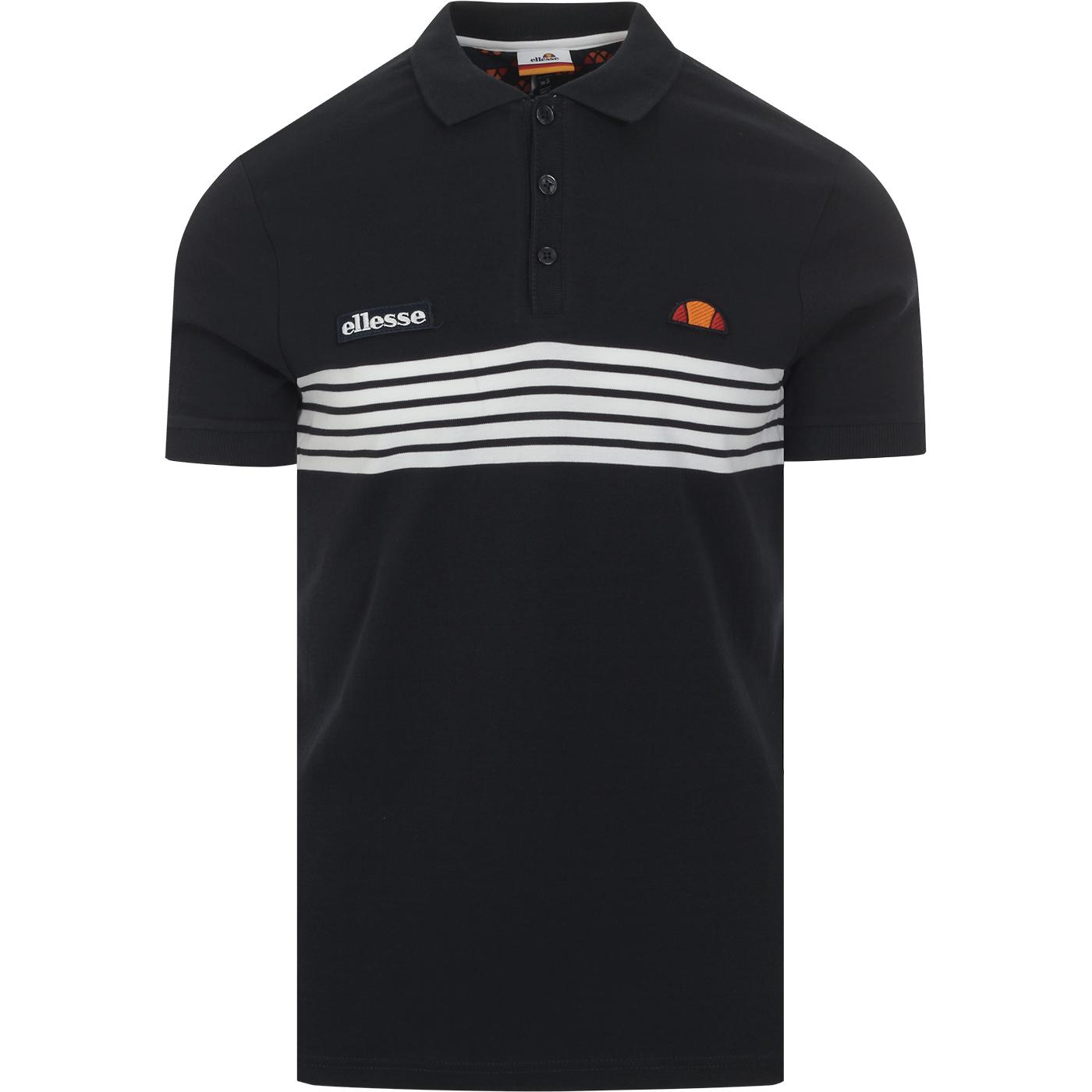 Vanni ELLESSE Retro 80s Stripe Polo Shirt (Navy)