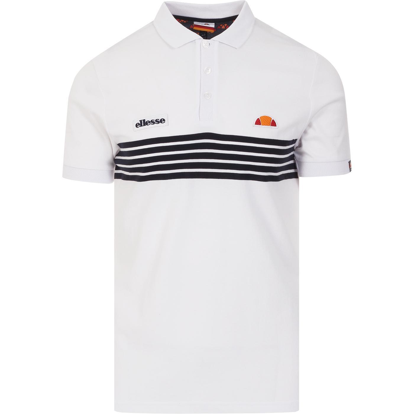 Vanni ELLESSE Retro 80s Stripe Polo Shirt (White)
