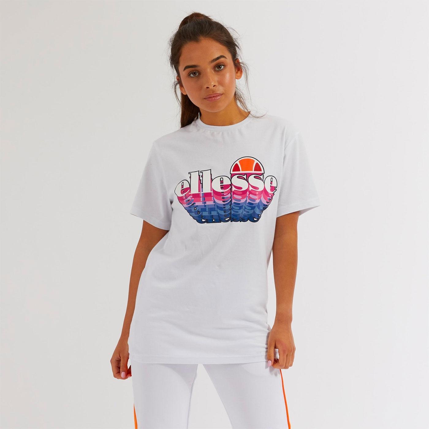 Zingha ELLESSE Women's Retro 80s 3D Logo Tee WHITE