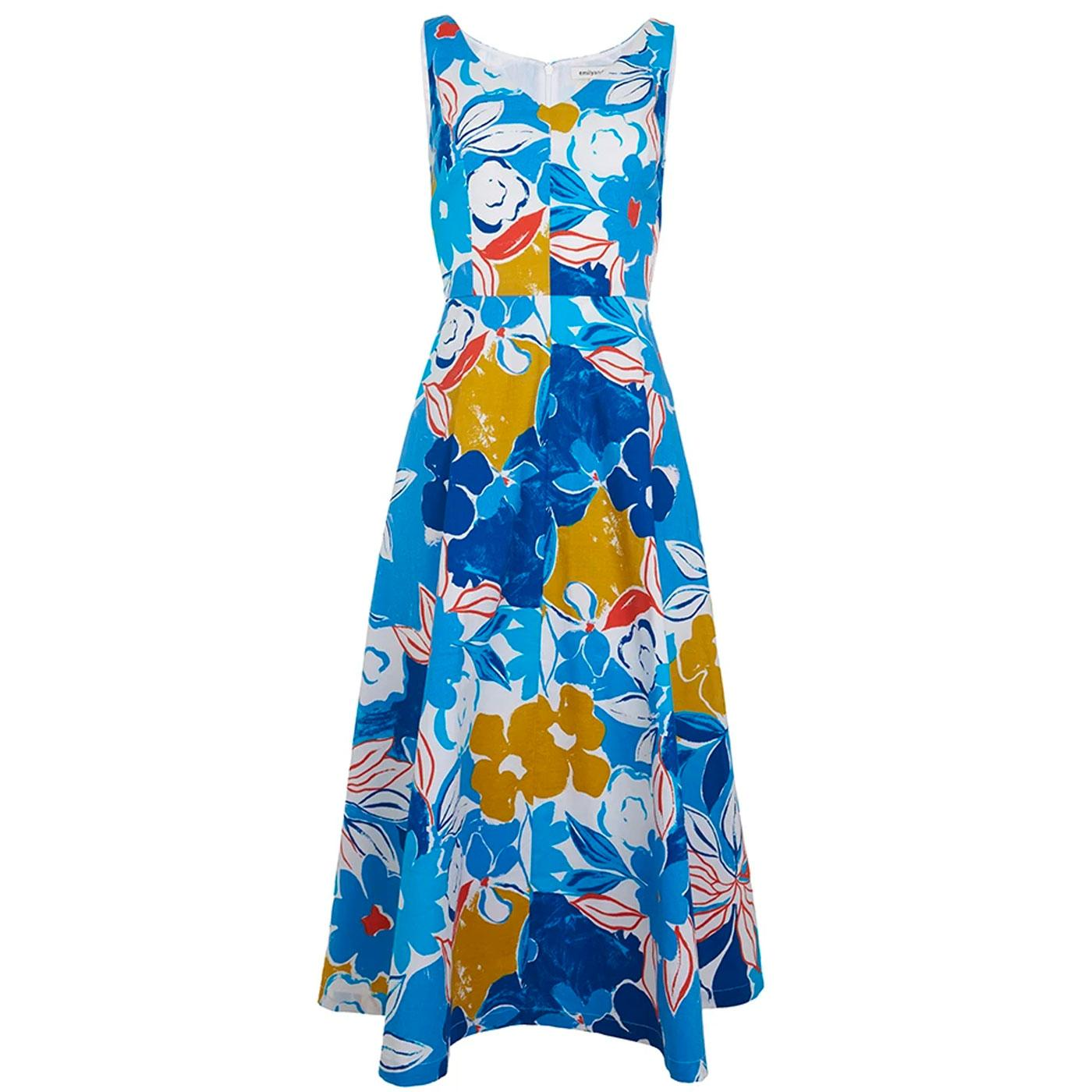 Margot EMILY & FIN Blue Asilah Floral Midi Dress