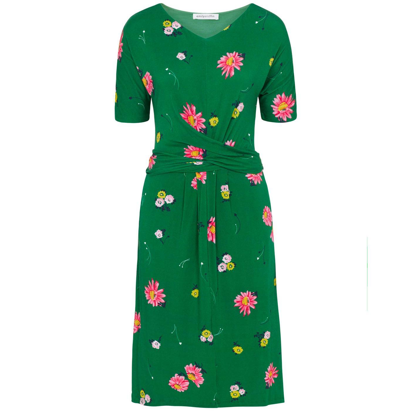 Mimi EMILY & FIN Retro Floral Midi Dress GREEN