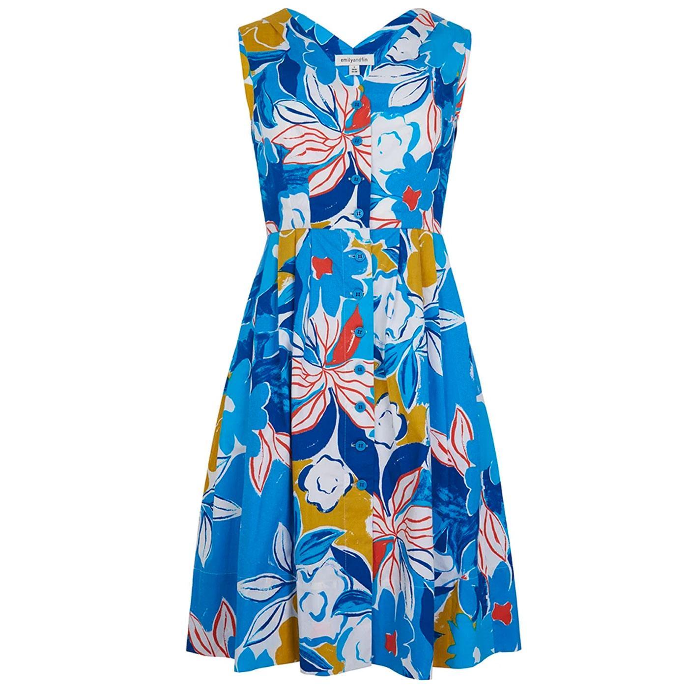 Scarlett EMILY & FIN 60s Blue Asilah Floral Dress
