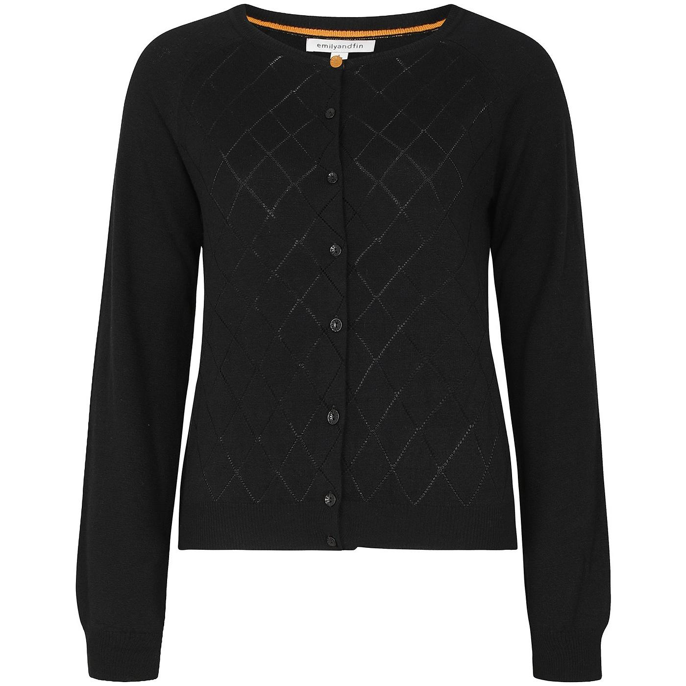 Tess EMILY AND FIN Argyle Pointelle Cardigan BLACK